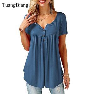 TuangBiang 2020 лета женщин V-образным вырезом с коротким рукавом футболки Сыпучие Sexy Camiseta feminina футболки Женщины Плюс Размер Длинные Стиль Tops