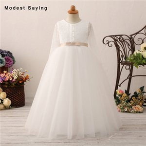Ivory Ball Gown Long Sleeves Lace Flower Girl Dresses 2020 with Bow Kids Girls Long Pageant Party Prom Gowns vestido flores