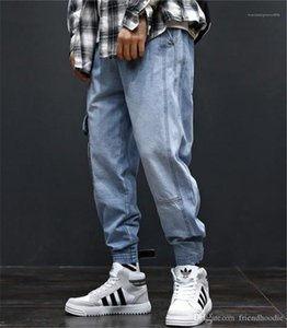 Mode longue Mens Cargo Pants avec poches Hiphop desserrées Light Blue Jeans Hommes