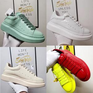 أحذية الرجال النساء في الهواء الطلق أعلى جودة براءات الاختراع والجلود والأحذية الرباط حتى أحذية منصة المتضخم وحيد حذاء رياضة أبيض أسود Velet عرضي مع صندوق