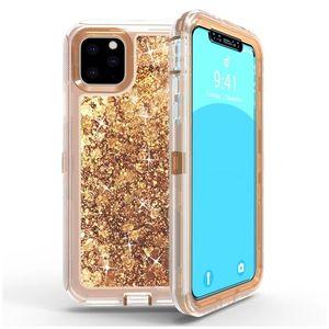 iphone 12 11 Pro Max Vaka Sıvı Quicksand Vaka 3 1 Ağır Hizmet Darbeye Koruma Kapak Telefon Kılıfı için Samsung S20 Not 20 Ultra