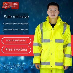 répartition du trafic costume trafic jaune fluorescent réfléchissant fendu costume imperméable réfléchissant jaune fluorescent Raincoat