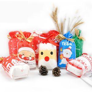 50pcs Frohe Weihnachten Kunststoff-Geschenk-Beutel-Süßigkeit-Plätzchen-Geschenk-Beutel Weihnachtsbaum Beuter mit Band Snack Biscuit Back Package