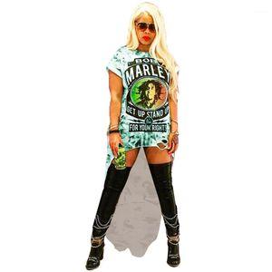 Платья Rock Женщина Tshirt Платье O-образного вырез отверстие платье Lady Summer Digital Printed Одежда Sexy Club Сыпучий
