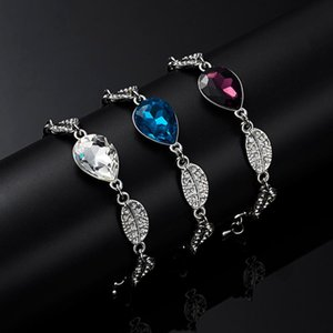 Rinhoo 1PC Zinc Alloy Leaf Shape Chain 3Colors Luxury Water Drop Shape Crystal Pendant Bracelet Accessories Gift For Women