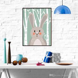 Dessin animé Peintures Animales Chambre Enfants Ours Mignon Ours Fox Peintures de lapin Décoration Peintures De Salon Décor Sans cadre Peintures Cadre BC BH1376