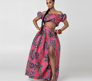 2020 Summer African Dresses for Women Floral Print Dashiki Bazin Ladies Clothes Sexy Shoulder Off Robe Africaine Bohemia Skirt44