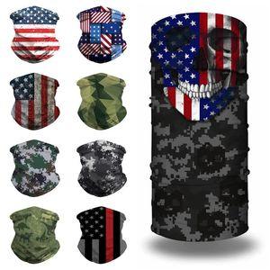 caldo della bandiera americana Sciarpe stampa 3D Magica Sciarpe multifunzionale camuffamento magico Copricapo Turbante in sella MasksT2I51363 maschera Designer