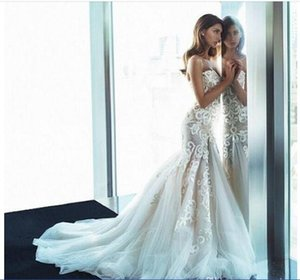 Amazing Strapless Lace Embroidered Wedding Dresses 2016 Summer Backless Tulle Sweep Train Beach Bridal Gowns High Quality Bridal Vestidos