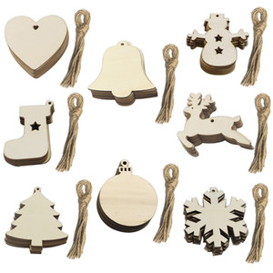 DIY 10pcs de Navidad de madera, adornos de madera, adornos de Navidad decoraciones colgantes de madera en blanco a granel discos con agujeros para los artes de la pieza central