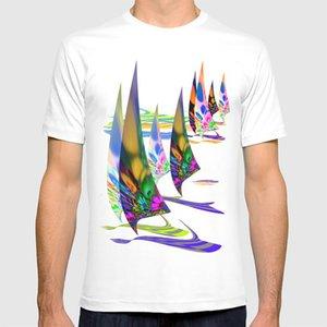 Vela lejos T Shirt 3 D Expresionismo Deportes Regata de Vela velocidad ganar la carrera océano al aire libre