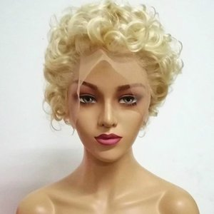 180 Density 613 Full Lace Wig Curly Blonde Short Wigs Lace Front Human Hair Wigs For Black Women Transparent Lace Virgin Hair669