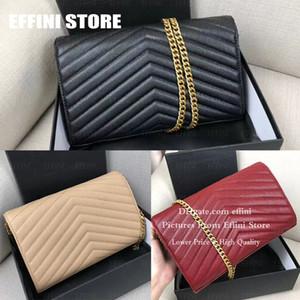 Femmes Mode Caviar d'épaule sac à bandoulière de haute qualité en cuir véritable sac à main sac fourre-tout noir d'embrayage de la chaîne Cross Body Bag en gros