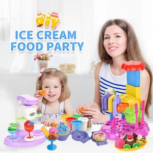 Ice Cream Party Play House Toy Pretend bricolage couleur boue crème glacée Fun Machine Pâte à modeler Pâte Playset Cuisine Enfants Filles Jouets