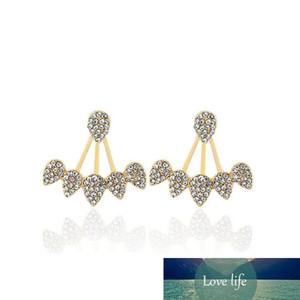 Новая мода падения воды Rhinestone стержня уха серьги для женщин партии ювелирных изделий Gold Silver Plated Leaf Ear Jacket