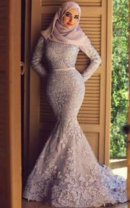 Мусульманские платья выпускного вечера Формальные партии платья невесты Кружева Аппликации высокого шеи атласная Тюль развертки поезд вечернее робы де soirée