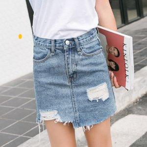 jFMNz nuovo denim skirt stile 2020 coreano foro trafitto lavato Estate denim donne dell'anca avvolto one-step one-step della gonna gonna per le donne