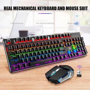 X200 Dual Mode Key Ergonomic Game Wireless Mix Backlit Mechanical Panel Keyboard Mouse Combos 104 key Standard Keyboard Mouse