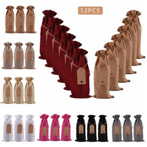 Jete Wine Bottle Bags Champagne Wine Bottle Covers Solid Color Gift Pouch Dinner Table Decorations customizable logo With Hang Tag