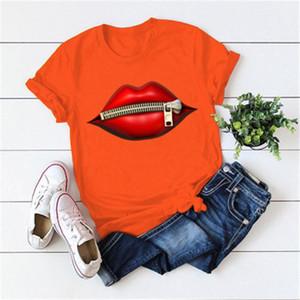 Labios cuello redondo T diseñador ocasional Hombre Nueva camiseta de manga corta floja Ropa para mujer de la cremallera de las camisetas de verano tendencia de la moda del tamaño extra grande