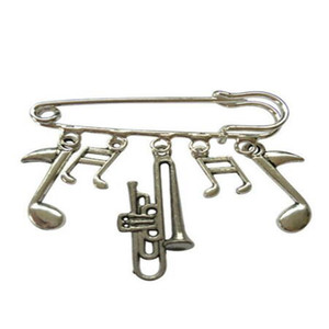 Vintage Music Saxophone Guitar French Horn Trombone Violin Drums Brooches for Women Kilt Pin Brooch Dress Coat Jacket Bags Jewelry Boho Gift