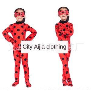H1wDI танец Хэллоуин потому Ladybug одежда Reddy костюм для взрослых штаны производительности 2PcXD парик божья колготки Tight платье девушки танец костюм
