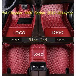 Chrysler 300C Sedan 2012-2014year için uygun Terzi yapılan araba paspas su geçirmez PU deri malzeme,