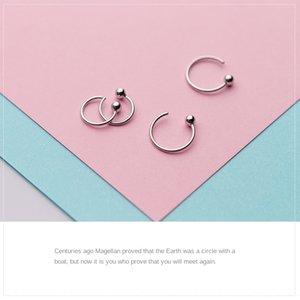 S925 borchie d'argento delle donne giapponesi e fagioli semplici perline coreana accessori rotondi chiari orecchino orecchini perline gancio per l'orecchio alla moda breve orecchini
