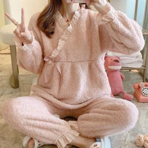 Nouvelle maternité Survêtement Confinement Vêtements Automne et Hiver postpartum Agneau Cachemire enceinte Couleur unie Pyjama confortable