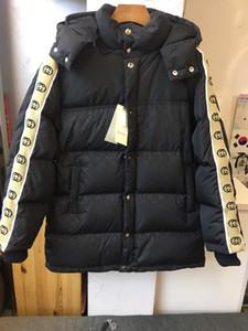 스트립 지퍼 후드 착실히 보내다 패션 신사 탄성 스트립 두꺼운 칼라 코트 스탠드 최신 브랜드 남성 다운 자켓 디자이너 남성 겨울 따뜻한