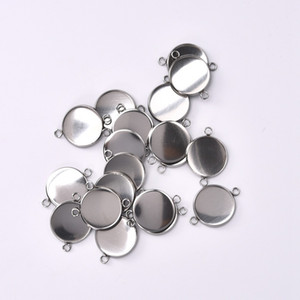 30Pcs lot 18mm Stainless Steel Connector Setting Cabochon Base Cameo Bezel 1 1 Loop Round DIY Pendant Jewelry Making Components
