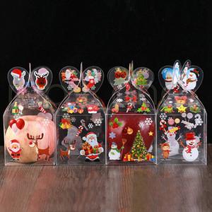 Decoração de Natal Candy Caixa Transparente PVC papel de embrulho caixa de embalagem Papai Noel Boneco de neve doce Partido Caixas de Apple Fontes RRA3515
