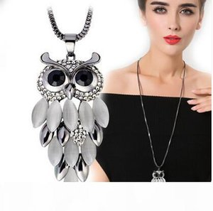 USAY LIKE Vintage Owl Pendant Necklace Long Sweater Necklaces Luxury Opal Rhinestone Charm Necklace Fashion Statement Jewelry Lots Wholesale