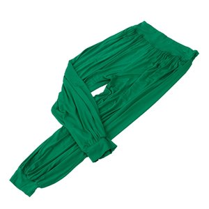 Cintura alta estiramento Mulheres Harem Pants Esporte Yoga Calças flare Pant Dance Club Boho perna larga soltos calças compridas Bloomers Pants-Yel