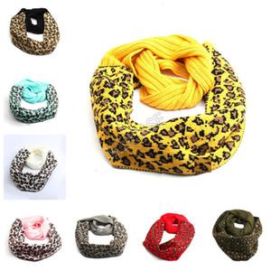 2020 Inverno caldo sciarpa lavorata a maglia donne degli uomini di moda Crochet Buff stampa del leopardo sciarpe di lana calda lavorata a maglia sciarpa del fazzoletto da collo D92404