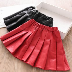 Autumn 2020 new 2color Pu leather Girls Skirts Fashion Pleated Kids Skirts Ruffle Shorts Skirt kids  clothes girls clothes B1968