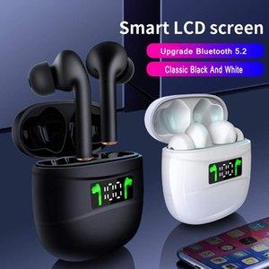 충전 LED 디스플레이와 무선 이어폰 블루투스 이어폰 5.2 IPX7 방수 이어폰 케이스 스테레오 내장 마이크 TWS 스포츠 이어폰