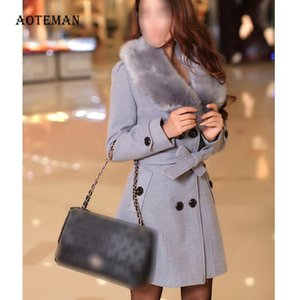 Women's Jackets Winter Female Coats 2020 Casual Plus Size Outwears Slim Faux Fur Wool Jacket Double Breasted Solid White Coat