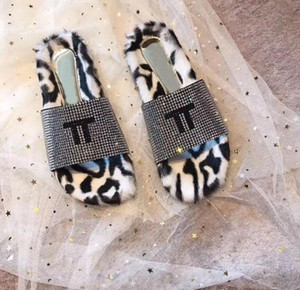 2020 winter high end famous brand shoes fashion leopard rabbit hair fall proof warm slippers indoor lazy women s shoes matching box 35-41