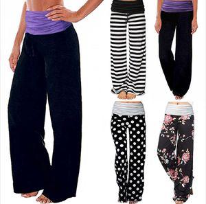Sport Trousers Female Wide Leg Pants Stripe Splice Mid Waist Milk Silk Dot Print Trousers Loose Yoga Sports Causal Pants Seashipping LJJP376