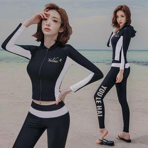 J5mp2 2020 Корейский стиль раскол женщин Diving с длинными рукавами плавать быстросохнущие серфинг подводное плавание дайвинг костюм медузы костюм