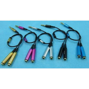 Wholesales Multicolor Metal 3.5 mm stereo mini jack 1 Male to 2 Female Splitter Earphone Audio AUX Cable DHL Fedex 100pcs lot