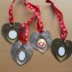 toptan ucuz 8 tarzı süblimasyon yılbaşı süsleme Xmas decorations melek kanatları yılbaşı hediyesi baskı boş sıcak transferini şekillendirecek