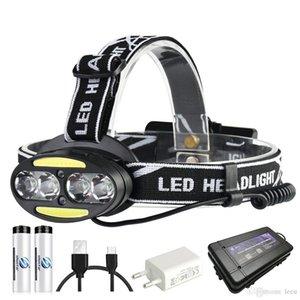 Super brilhante farol LED 4 x T6 + 2 x COB + 2 x LED Red 15000 Lumens farol 7 modos de iluminação com baterias carregador