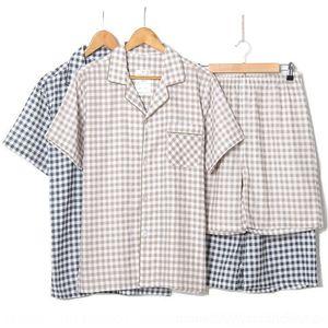 0Zi3A oo2ty Garn Shorts Baumwolle Doppelschicht des Gaze Hauptklage Männer kurzärmeliger neuer karierter zweiteiliger Sommer-neue Baumwolle der doppelte Schicht Sommer sui