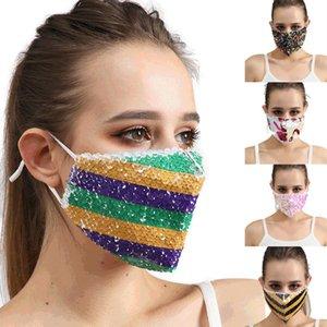 Bling Bling Sequins Yüz Maskesi toz geçirmez Moda Ağız Maskeleri Tasarımcı Yıkanabilir Yeniden kullanılabilir Kadınlar Yüz Yüksek Kaliteli Maskesi DHL Ücretsiz Kargo Maske