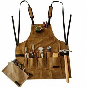 Economico Grembiule Tasche multiple Collector Canvas Olio Cera panno Strumenti bagagli grembiule impermeabile per il cuoio barbecue uomini Ds99 Grembiuli Nail un XK74 #