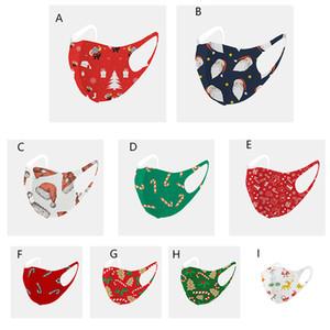 Máscaras Máscara de Natal lavável Cara da forma Papai Noel Impressão Ice Silk Cotton Protective Dustproof reutilizável Xmas Boca Individual Bag