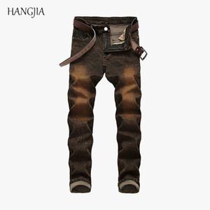 [Hangjia] Distressed Washed Farbige Jeans der Männer beiläufige Art und Weise hohe Stretch dünne Denim-Hosen Jugend Trend Hip Hop Jean