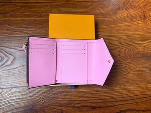 Großhandels-PU-lederne Mappe für Frauen Mehrfarben Designer kurze Mappen-Kartenhalter Frauen Geldbeutel klassischen Reißverschlusstasche Victorine